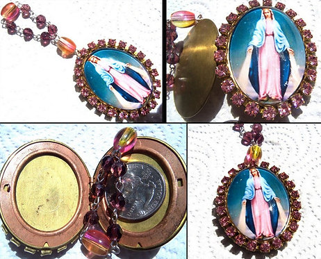 Our Lady Of Grace Cameo Prayer Locket Icon Beads Virgin Mary Shrine