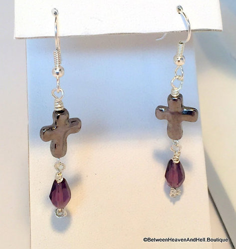 "2"" Amethyst Gemstone and Gunmetal Cross Wire Wrapped Dangle Earrings"