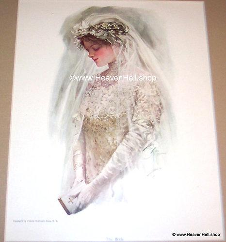 1910's Vintage Harrison Fisher Print Edwardian Bride Wedding Lace Gown