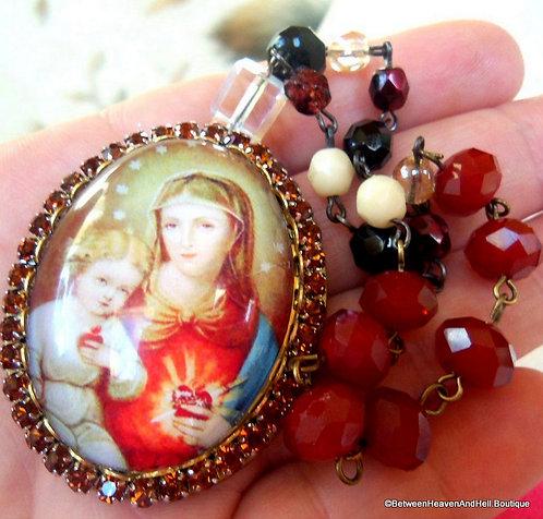 Spiritual Gifts, Prayer Petition Box Czech Beads Madonna And Child Cameo Locket