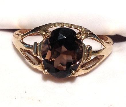 10k Gold Ring Oval Smoky Topaz Gemstone 7