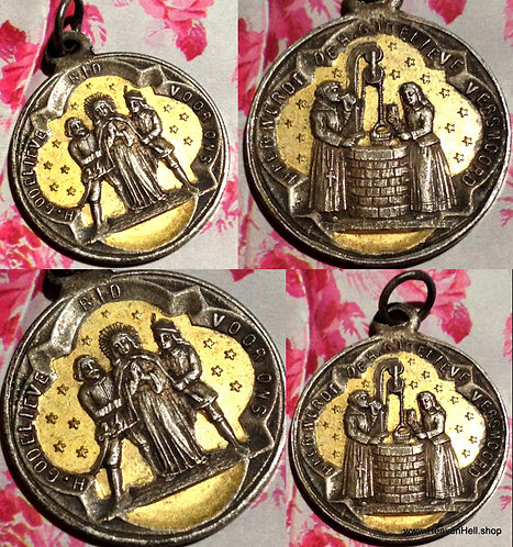 Rare 1800's Medal Antique Dutch Saint Godelieve Godelina Religious Jewelry