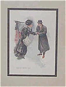 Antique Artprint Harrison Fisher-victorian Lady & Gentleman - 1909