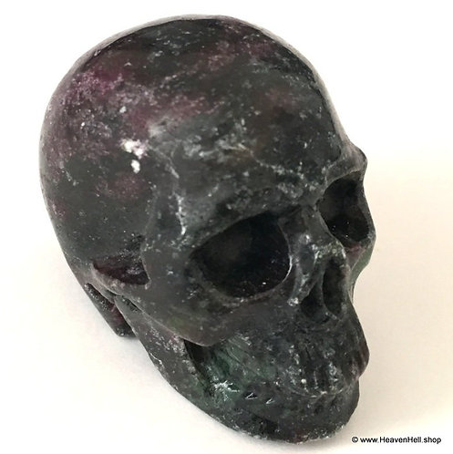 Activated Ruby Zoisite Pargasite Crystal Skull, Spiritual Growth Positive Energy