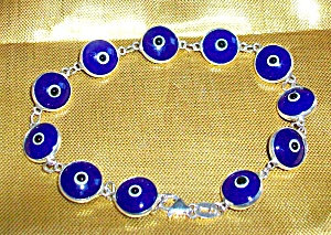 Greek Evil Eye Bracelet, Blue Glass Handpainted Sterling Silver