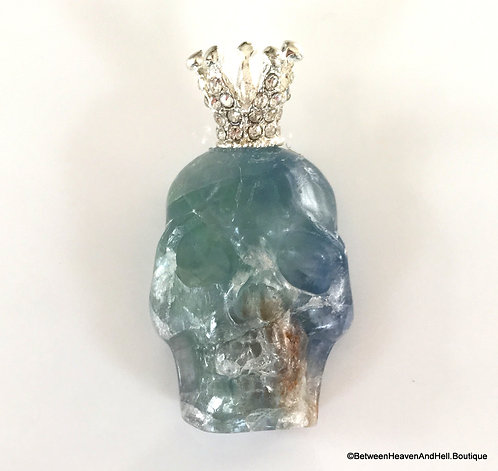 "2.25"" Large Crowned Fluorite Skull Pendant Handmade Jewelry, Day of the Dead"