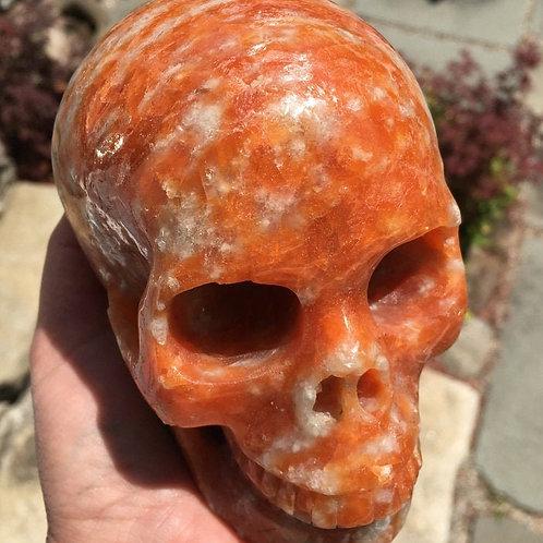 """5.2"""" Large Orange Sunstone Crystal Skull - Healing Energy Blessings"""
