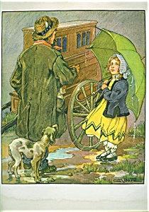 Children & Animals Print: Country Girl & Dog Clara M Burd