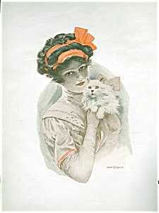 Ralph O Yardley Victorian Lady White Cat Scrapbook Page Print