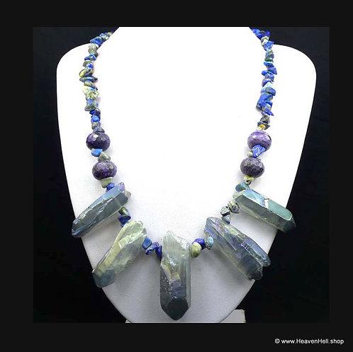 Aqua Aura Quartz Crystal Sodalite Purple Agate Gemstone Necklace