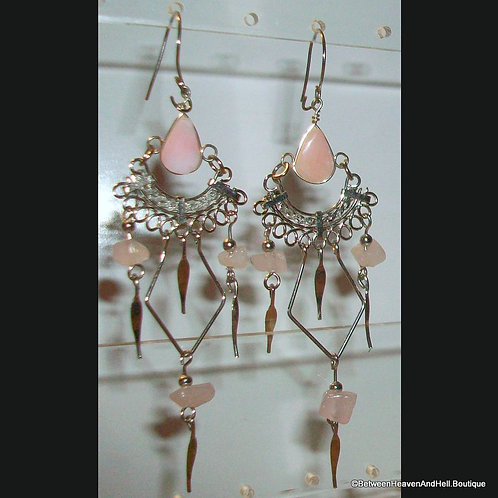 Sexy Pink Opal Rose Quartz Long Dangle Earrings, Handcrafted Silver Jewelry