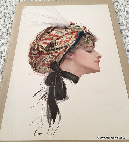 Vintage Harrison Fisher Print Chic Art Nouveau Lady in Feather Turban