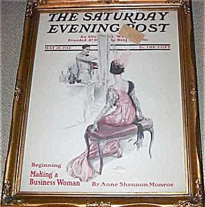Vintage Harrison Fisher Saturday Evening Post Cover Art 1912