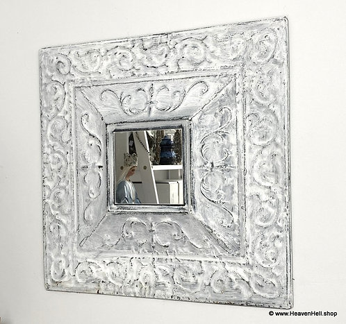 """18"""" Metal wall Mirror Shabby White distressed Farmhouse Décor Wall Accents"""