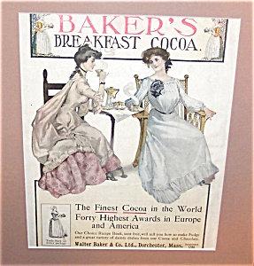 Vintage Baker's Breakfast Cocoa Ad Victorian Ladies Kitchen Print