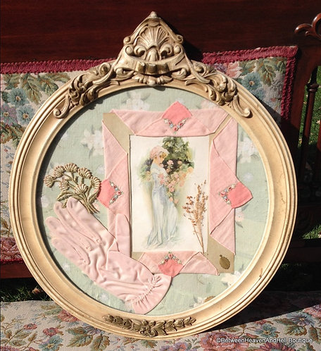 Round ivory Antique Frame Victorian Shabby Print Collage Pink Roses, Handcrafted