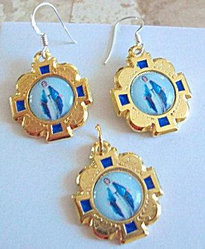 Our Lady Of Grace Dangle Earrings Pendant Set: Virgin Mary