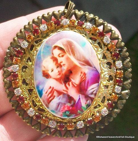 "2.5"" Large Rhinestone Porcelain Cameo Pendant Madonna & Child Jesus Virgin Mary"
