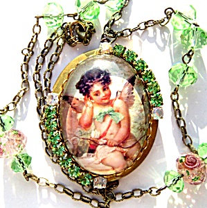 Large Vintage Rhinestone Cherub Angel Locket Green Crystal Beads