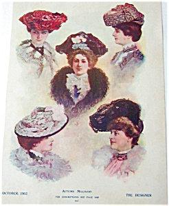 Antique & Vintage Prints Fashion Autumn Millinery Victorian Hats