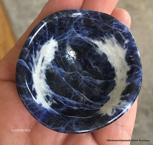 Small Blue Sodalite Gemstone Bowl Automatic Writing Open Pineal Gland