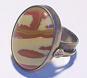 Vintage Jasper Ring Silver Large Oval Stone
