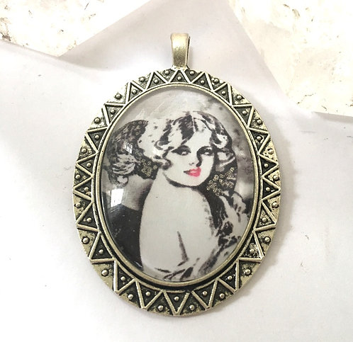 Altered Art Deco Full Moon maiden Cameo pendant, Silver Handcrafted Jewelry