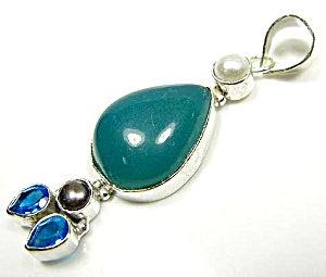 Teardrop Green Onyx & Topaz Pendant: Sterling Silver Jewelry
