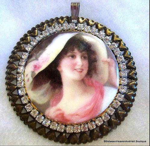 Large Porcelain Cameo Rhinestone Pendant Victorian Lady Pink Roses Hat