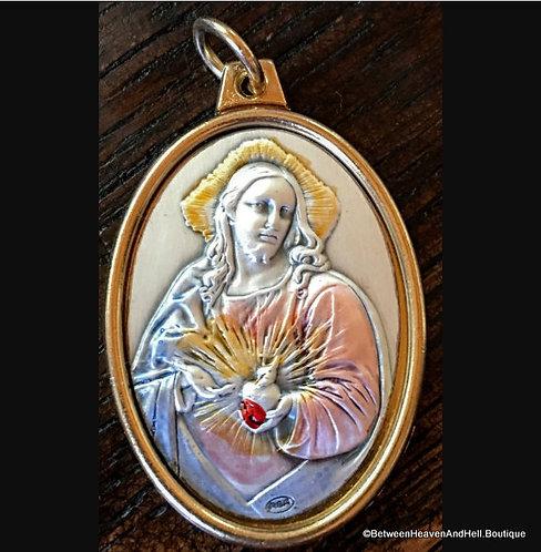 Large Sterling Silver Enamel Sacred Heart Jesus Art Medal Two Tone Pendant
