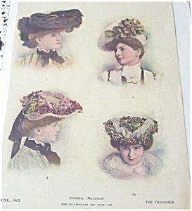 Antique & Vintage Prints Fashion Summer Hats