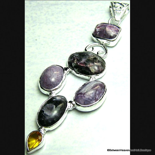 "3"" Charoite Moss Agate Sterling Silver Pendant New Beginnings, Handmade Jewelry"