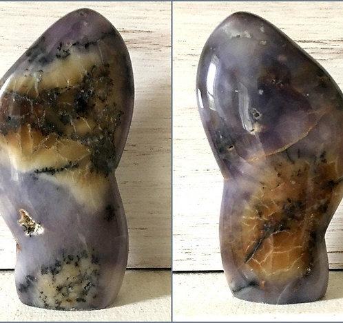 "5.2"" Rare Polished Purple Dendritic Agate Crystal Sculpture, Merlinite, Opal"