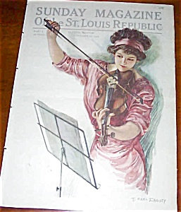 F Earl Christy Print Sunday Magazine Cover Lady Playing Violin Music