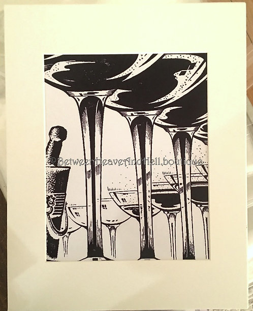 New Years Eve Champagne Altered Art Giclee Print Between Heaven & Hell 8x10