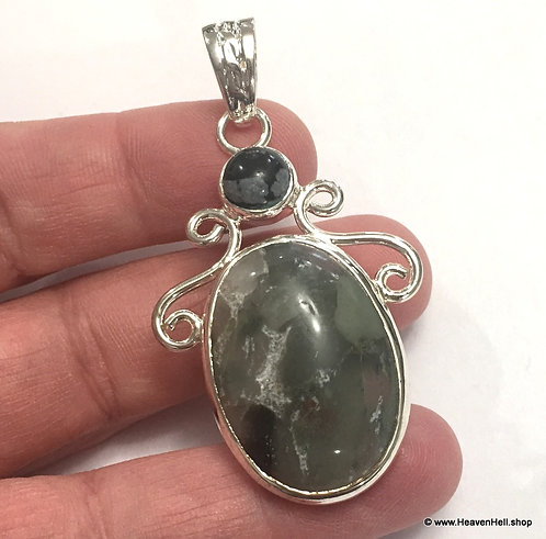Vintage Druzy Green Agate Snowflake Obsidian Pendant Soul Healing Silver Jewelry