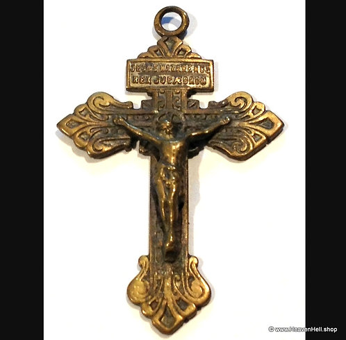 Large Ornate Cintage Crucifix Cross Catholic Pendant Christian Religious Jewelry