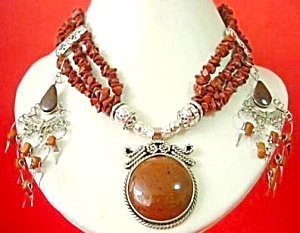 Round Jasper 3 Strand Necklace Dangle Earrings Set Silver
