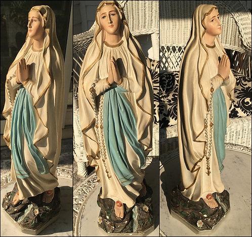 "Antique French Art Nouveau Our Lady of Lourdes Statue 17"" Virgin Mary"