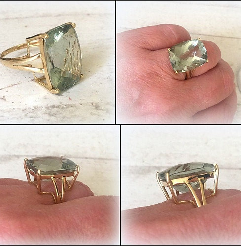 Vintage Large 14k Gold Green Amethyst Ring Cushion Cut Prasiolite Gemstone 8