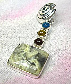 Dark Ocean Jasper Multi-stone Silver Pendant