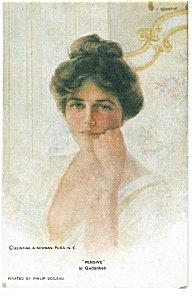 Artist Signed Postcard Philip Boileau Pensive 754
