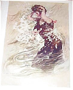 Antique Art Prints: Victorian Lady Swimmer Henry Hutt Print