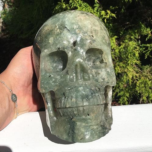 8LB Master Alaunus HUGE BUBBLY Prehnite Skull Archangel Raphael Psychic Ability