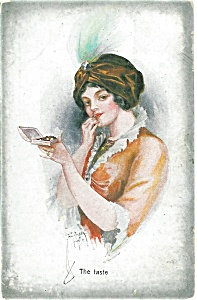 Artsist Signed Postcard Court Barber Deco Lady Feather Hat