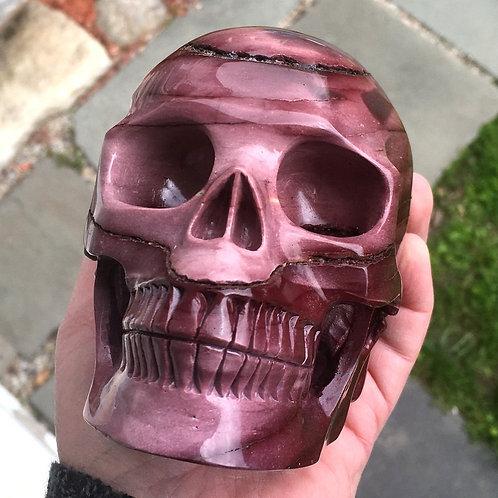 """Rare 5.2"""" Large Rose Pink, Purple & Red Mookaite Jasper Crystal Skull"""