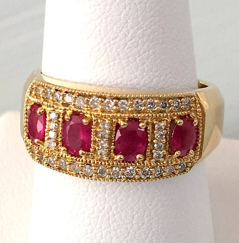 Sparkling Vintage 14k Diamond Ruby Band Ring Size 9