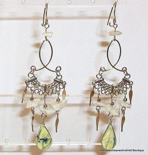 Rare Yellow Turquoise Long Dangle Earrings Handmade Silver Gemstone Jewelry