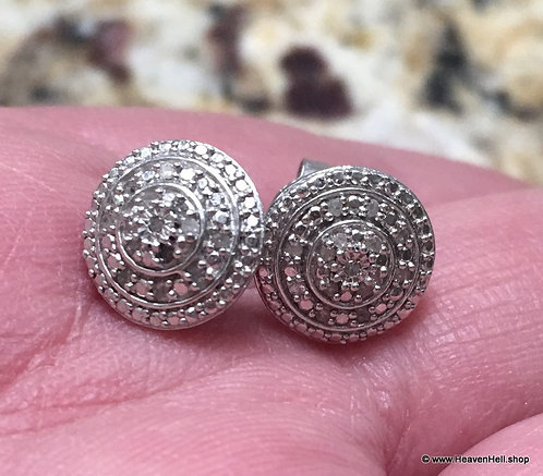 .10 ct. Diamond Earrings Round Diamonds Sterling Silver Jewelry, Art Deco Style