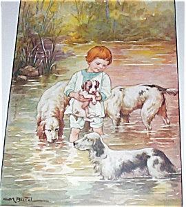 Vintage Puppy Dogs Little Boy Art Print Cm Burd 1920's